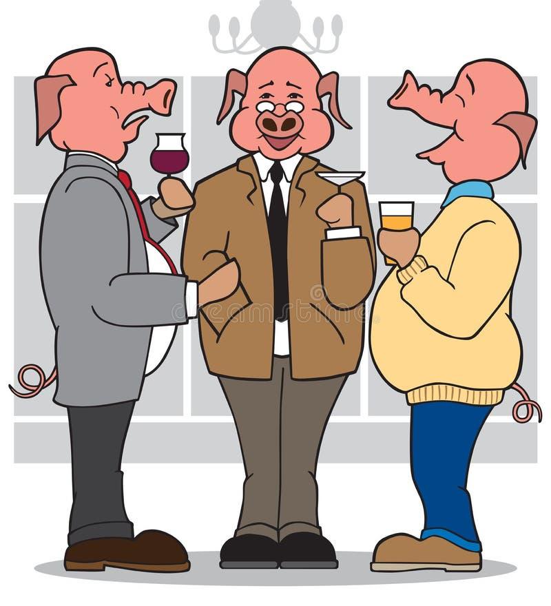 3 cerdos del negocio ilustración del vector