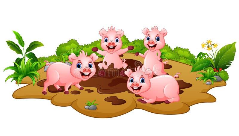 Cerdos divertidos que juegan en el fango ilustración del vector