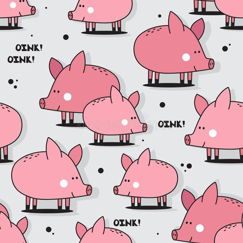 Cerdos felices, modelo inconsútil colorido stock de ilustración