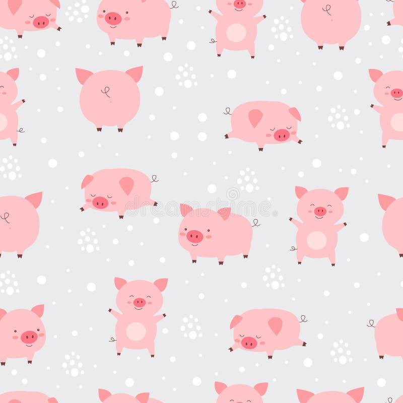 Cerdos lindos lindos alegres del modelo inconsútil pequeños en nieve historieta stock de ilustración