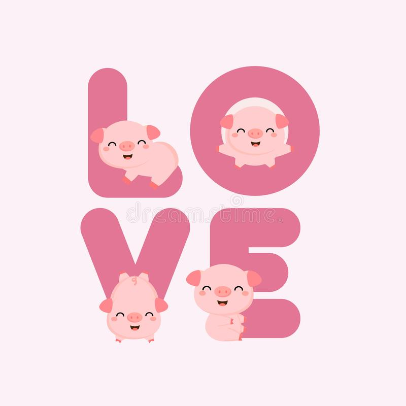 Cerdos lindos con las letras de AMOR Tarjeta de Valentine Greeting libre illustration