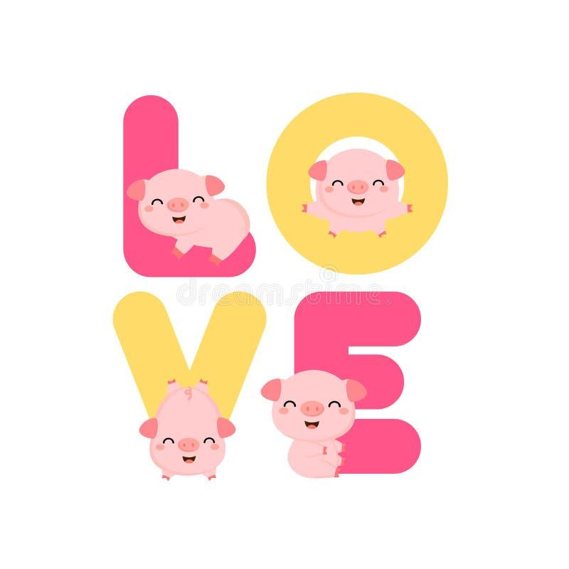 Cerdos lindos con las letras de AMOR Tarjeta de Valentine Greeting stock de ilustración