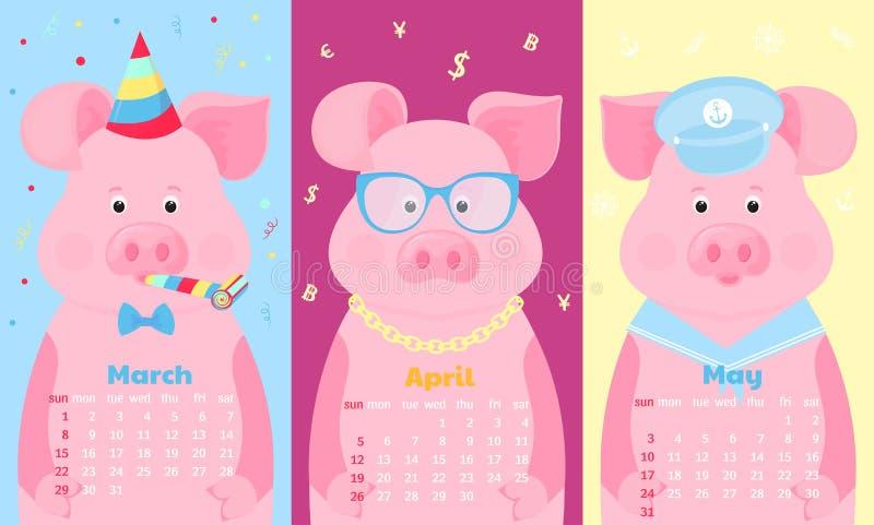 Cerdos lindos en sombrero del cumpleaños, en vidrios y traje del marinero Animal divertido Calendarios mensuales para marzo, abri ilustración del vector