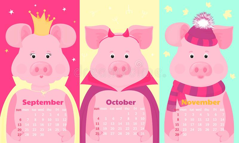 Cerdos lindos en sombrero y bufanda, en corona, en el traje de Halloween Animal divertido Calendarios mensuales para septiembre,  stock de ilustración