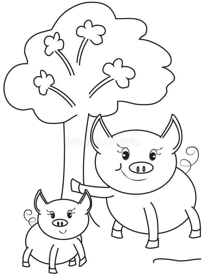 Cerdos que colorean la página stock de ilustración