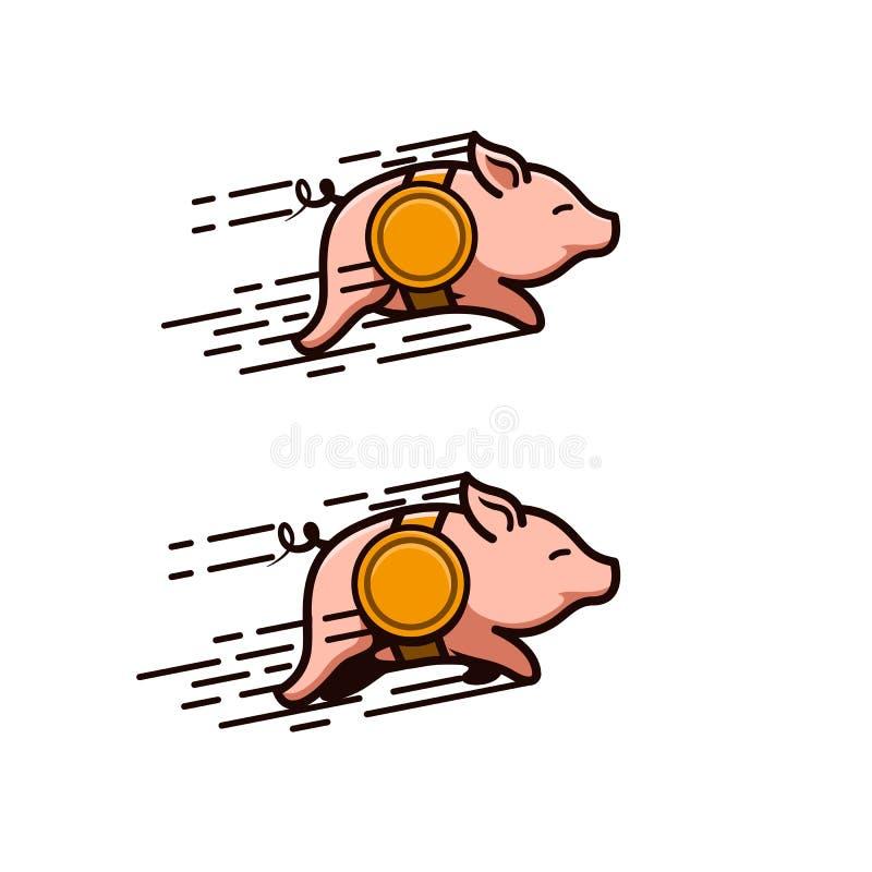 Cerdos que corren con las correas de la moneda ilustración del vector