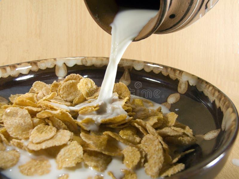 Cereais com leite foto de stock