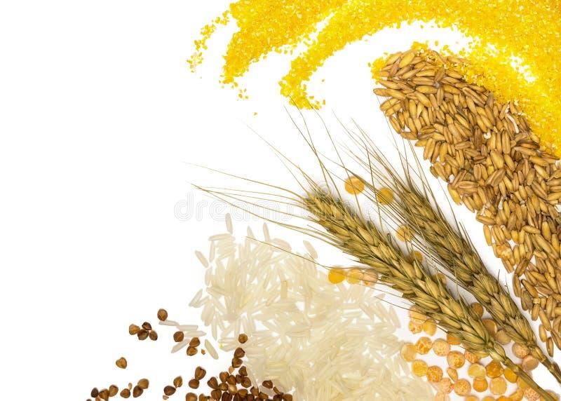 Cereais - milho, trigo, trigo mourisco, painço, centeio, arroz e ervilhas imagens de stock royalty free