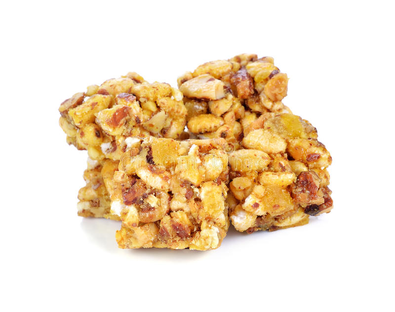 Cereal bar. Isolated on white background royalty free stock photos