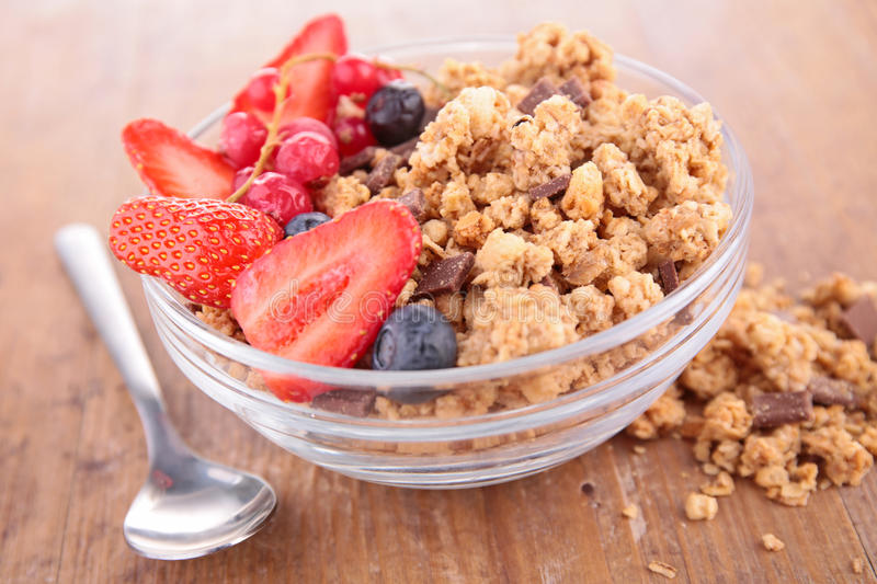 Cereal and berry stock images