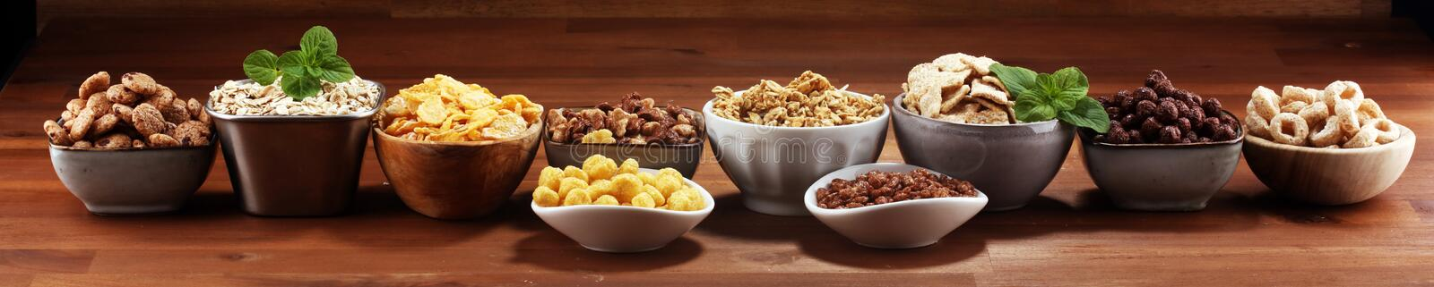 Cereal. Bowls of various cereals for breakfast. Muesli with kids cereals. Cereal. Bowls of various cereals for breakfast. Muesli with variety of kids cereals stock images