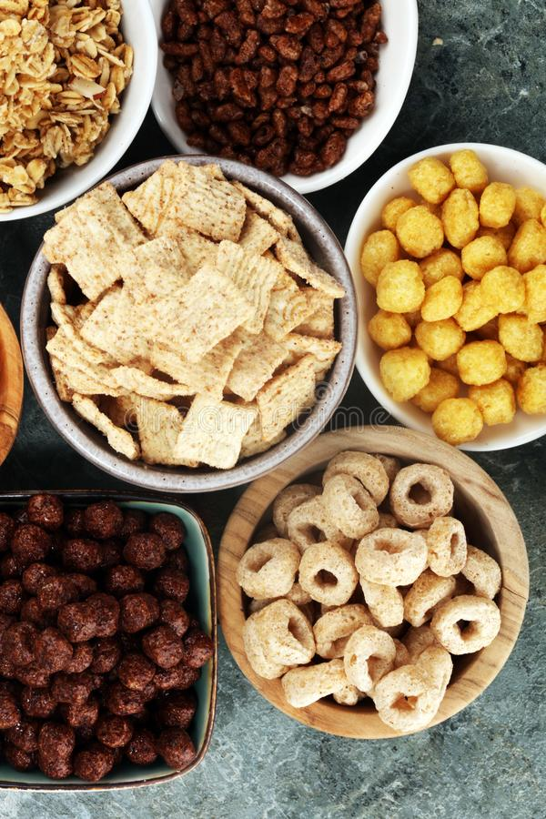 Cereal. Bowls of various cereals for breakfast. Muesli with kids cereals. Cereal. Bowls of various cereals for breakfast. Muesli with variety of kids cereals stock photos