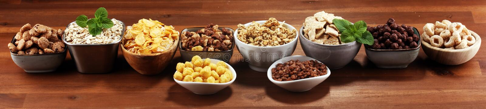 Cereal. Bowls of various cereals for breakfast. Muesli with kids cereals. Cereal. Bowls of various cereals for breakfast. Muesli with variety of kids cereals stock photography
