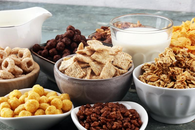 Cereal. Bowls of various cereals and milk for breakfast. Muesli with kids cereals. Cereal. Bowls of various cereals and milk for breakfast. Muesli with variety stock photography