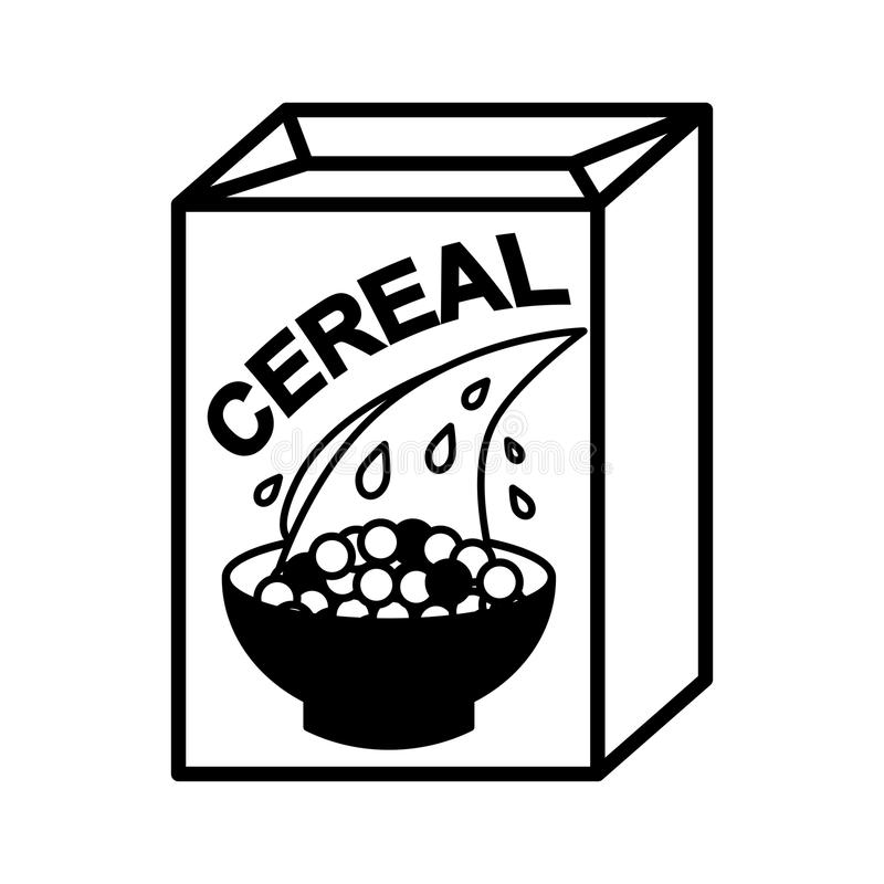 Cereal box and bowl vector illustration