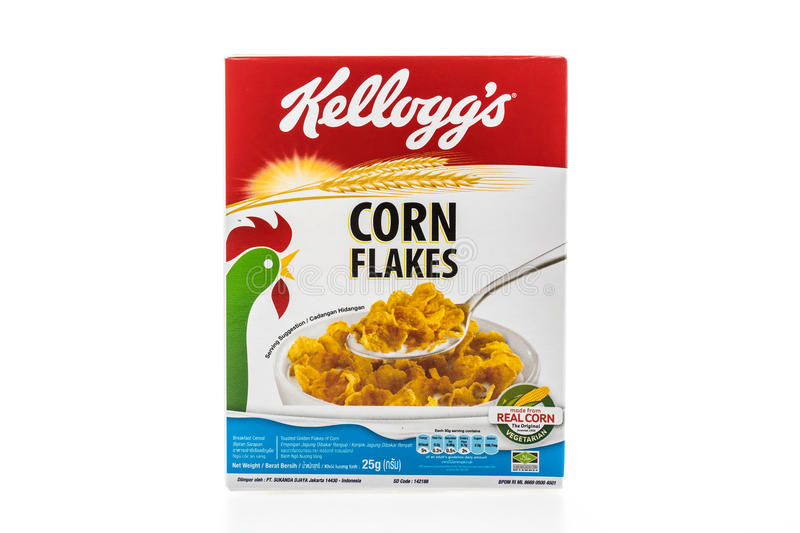 Cereal box brand kelloggs is stock photography