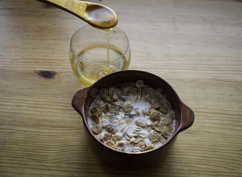 Cereal con leche y miel fotografía de archivo libre de regalías