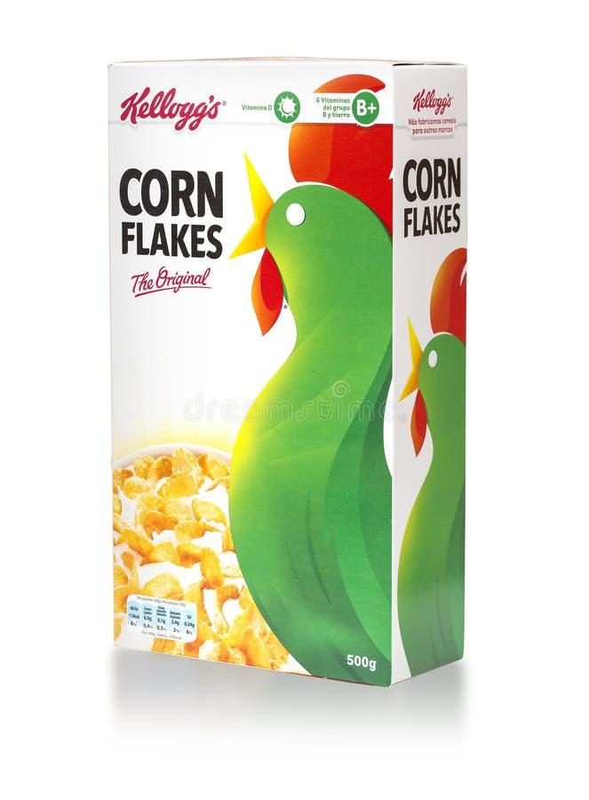 Cereal de café da manhã original dos flocos de milho de Kellogg's imagens de stock royalty free