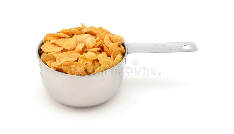 Cereal de desayuno de las avenas en una taza de medición imágenes de archivo libres de regalías