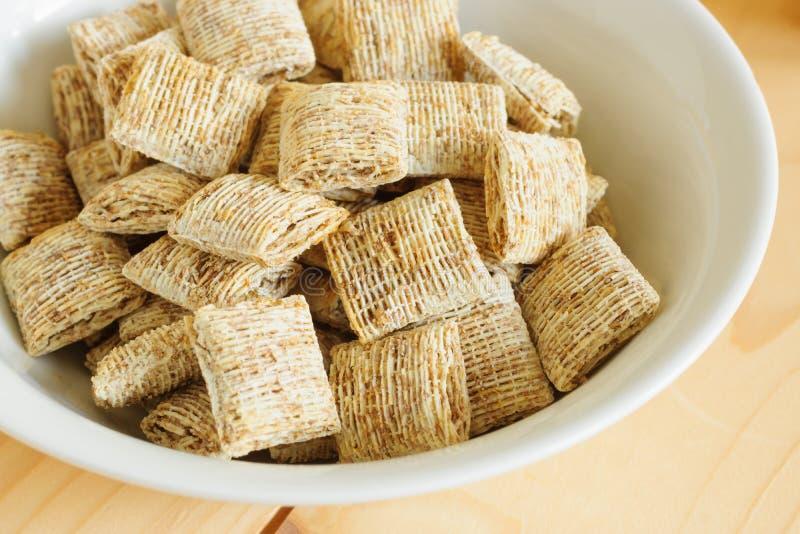 Cereal de la galleta del trigo del tama?o de la mordedura foto de archivo