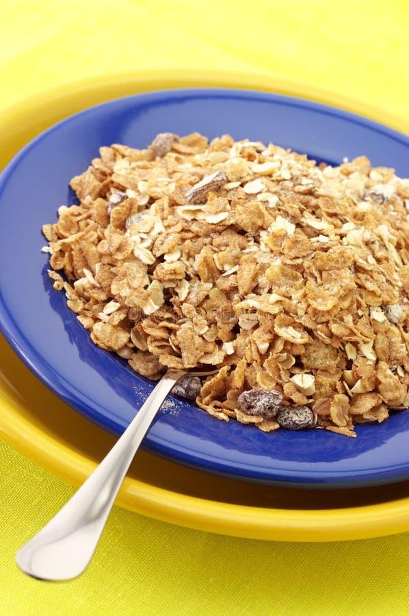 Cereal de pequeno almoço na placa foto de stock
