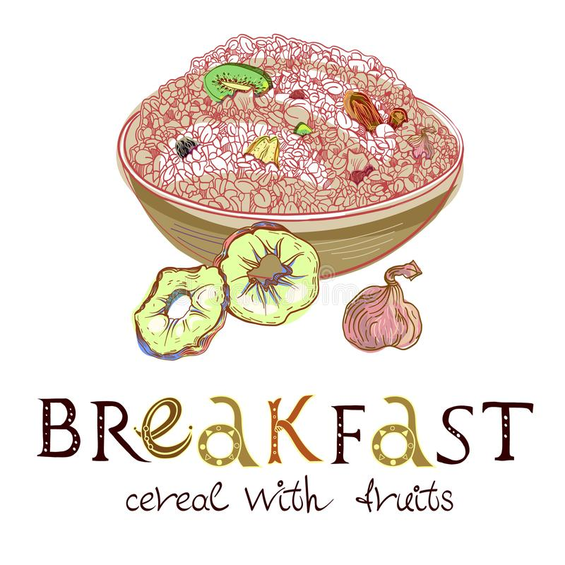 Cereal with dehydrated fruits in dishes. Healthy food breakfast for two persons. Fully editable vector illustration with lettering vector illustration