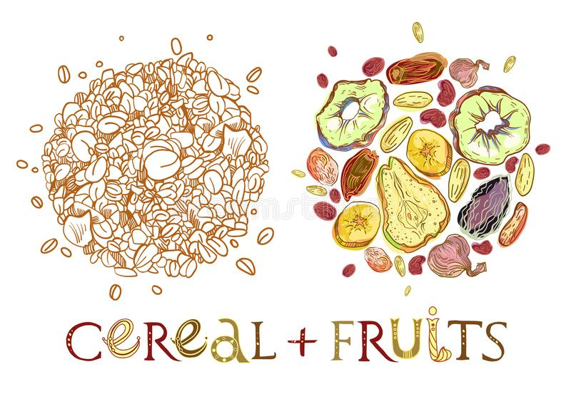 Cereal with dehydrated fruits round shape pattern. Healthy food breakfast. Fully editable vector illustration with lettering royalty free illustration