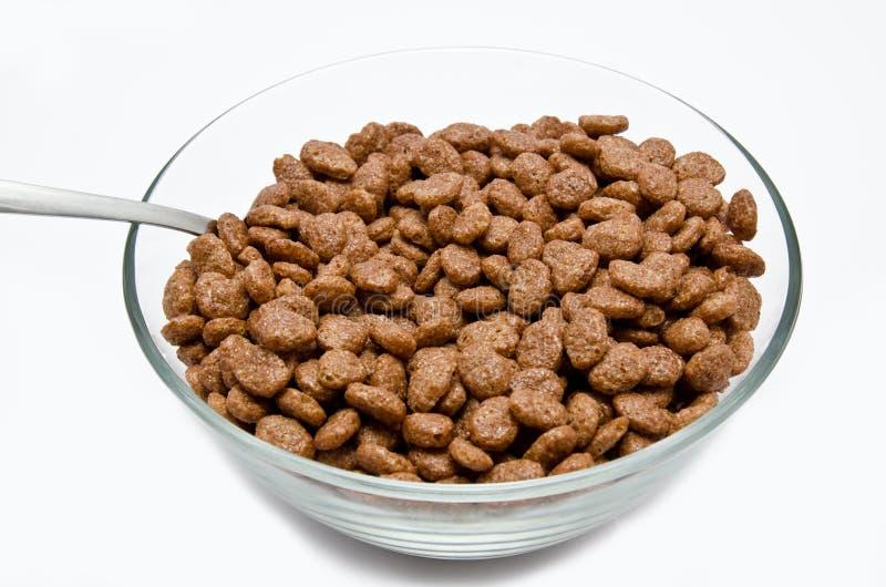 Cereal del chocolate en el cuenco fotografía de archivo