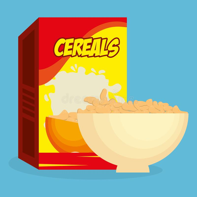 Cereal dish with box product delicious food breakfast menu. Vector illustration royalty free illustration