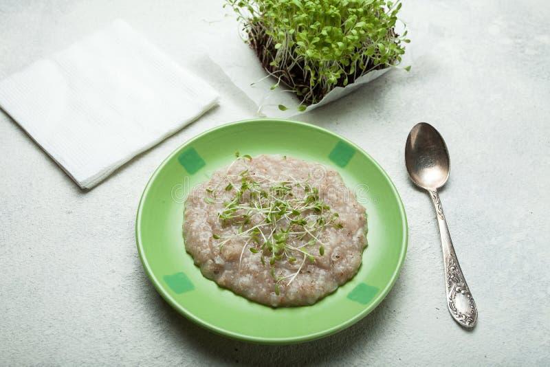 cereal do Multi-cereal com verdes da vitamina Pequeno almo?o saud?vel imagens de stock
