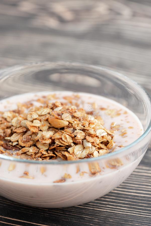 Cereal flakes in bowl stock photo