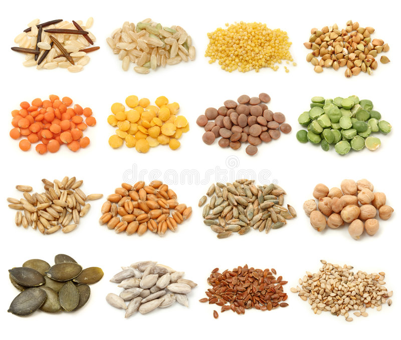Cereal, grain and seeds collection stock image
