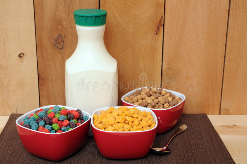 Cereal and milk stock images