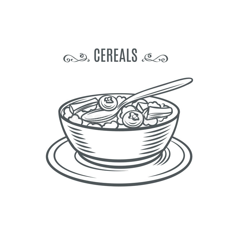 Cereal with milk and berries. stock illustration