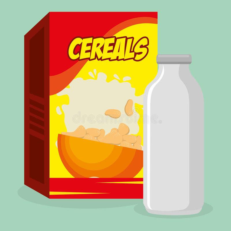 Cereal packing box with milk bottle royalty free illustration