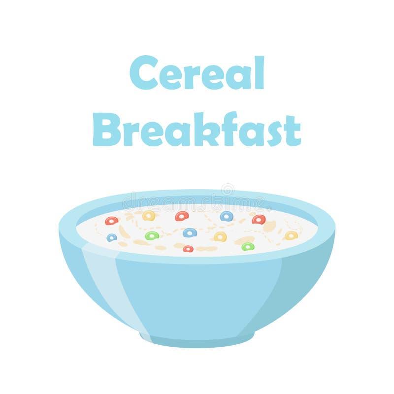 Cereal rings, oatmeal breakfast with milk, organic muesli. Flat style. vector illustration