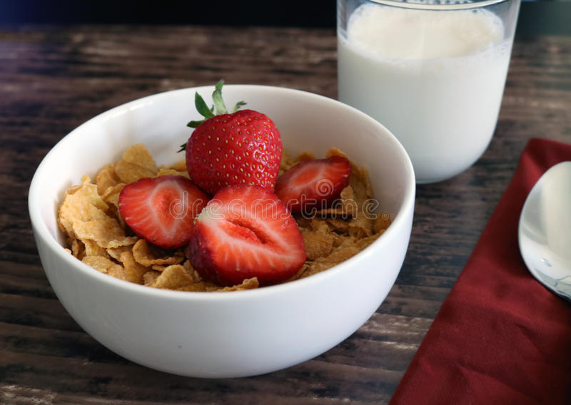 Cereal Strawberry Breakfast stock image