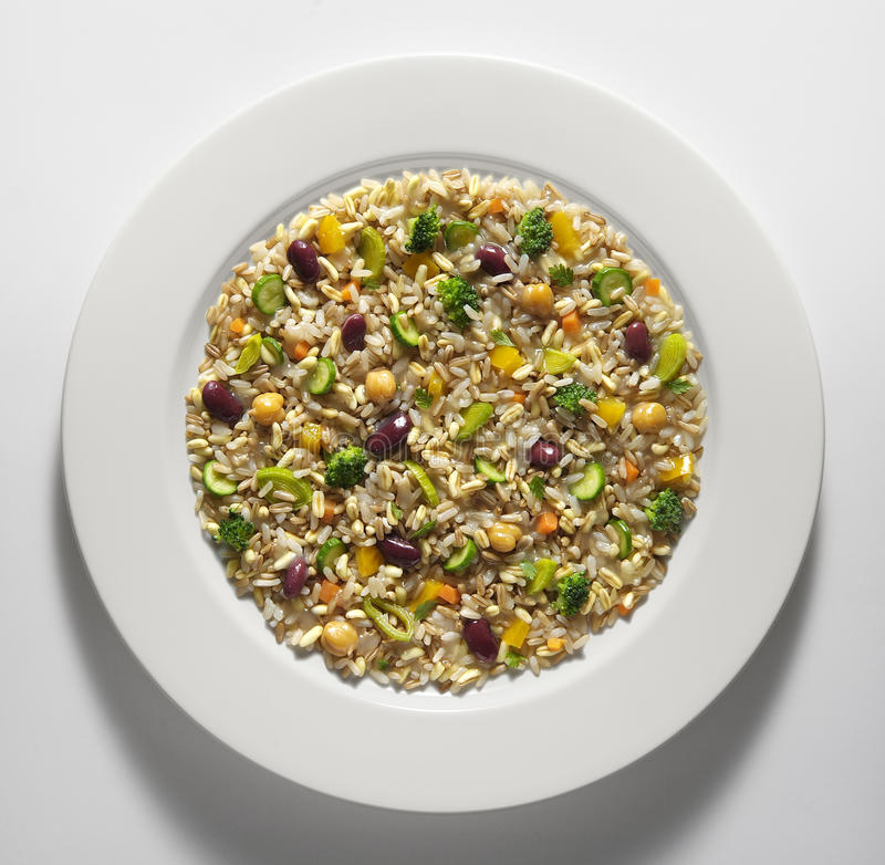 Cereal and vegetable salad royalty free stock photo