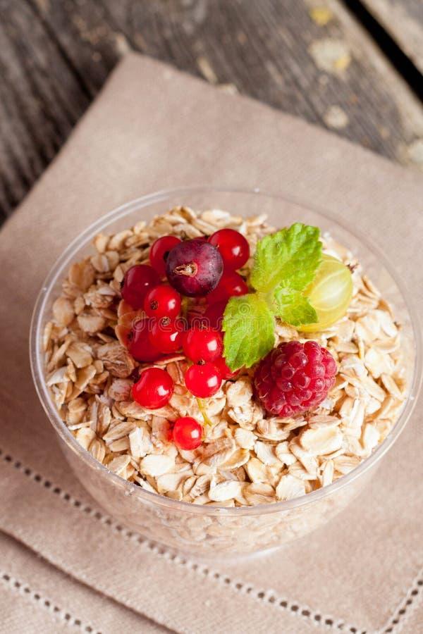 Cereal y diversa baya para el desayuno, primer, vertical fotografía de archivo libre de regalías