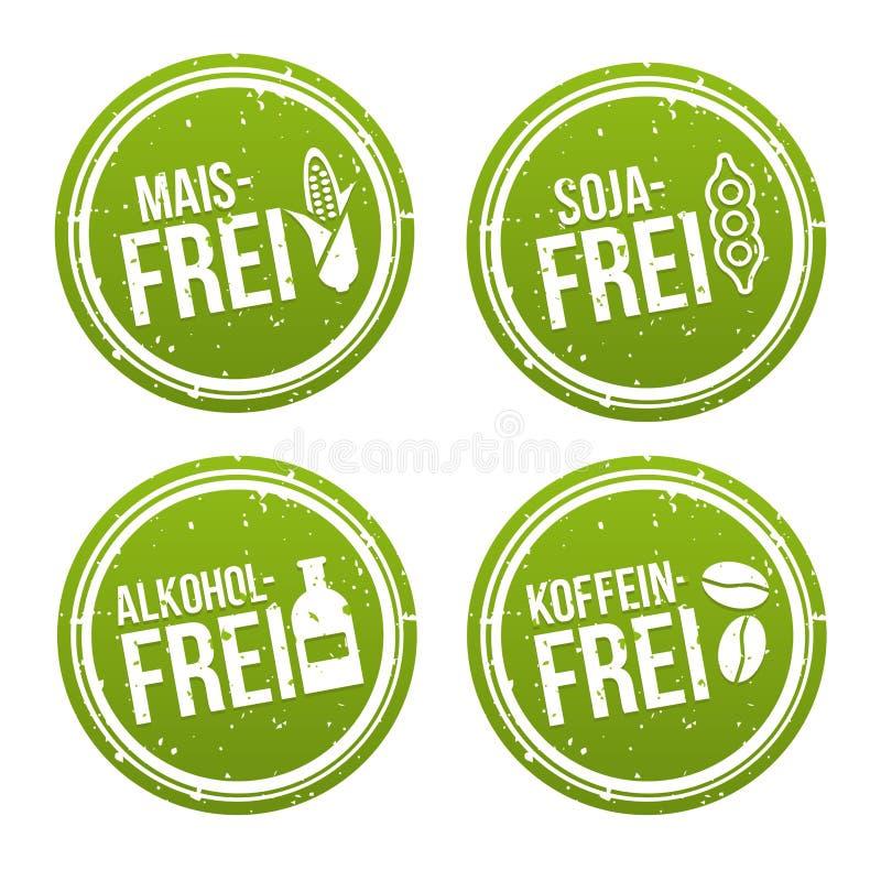 Cereale bollo libero senza alcool e di coffeine liberano, della soia libera, - Maisfrei, Sojafrei, und Koffeinfrei Stempel di Alk illustrazione di stock