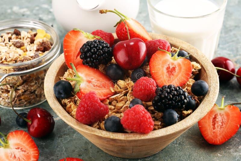 cereale Ciotola di cereali, di frutti e di latte del granola per i muesli della prima colazione con i cereali immagine stock libera da diritti