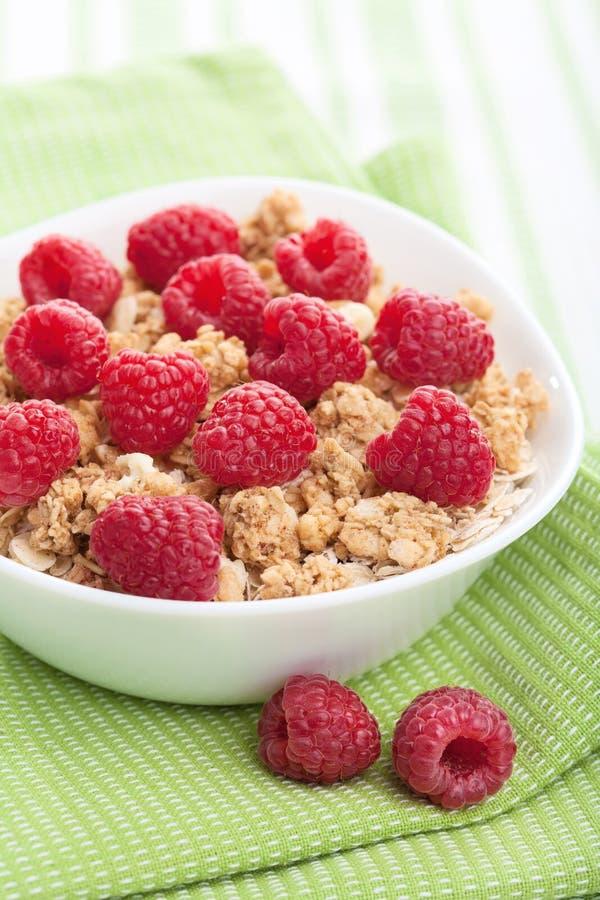 Cereale con il lampone fresco immagini stock libere da diritti