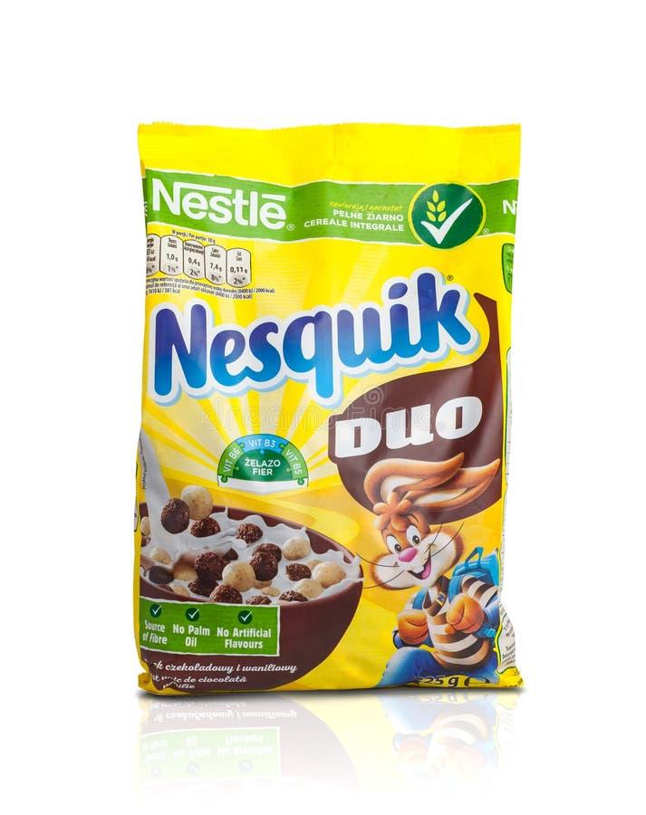 Cereale da prima colazione di Nestle Nesquik per la prima colazione fotografie stock