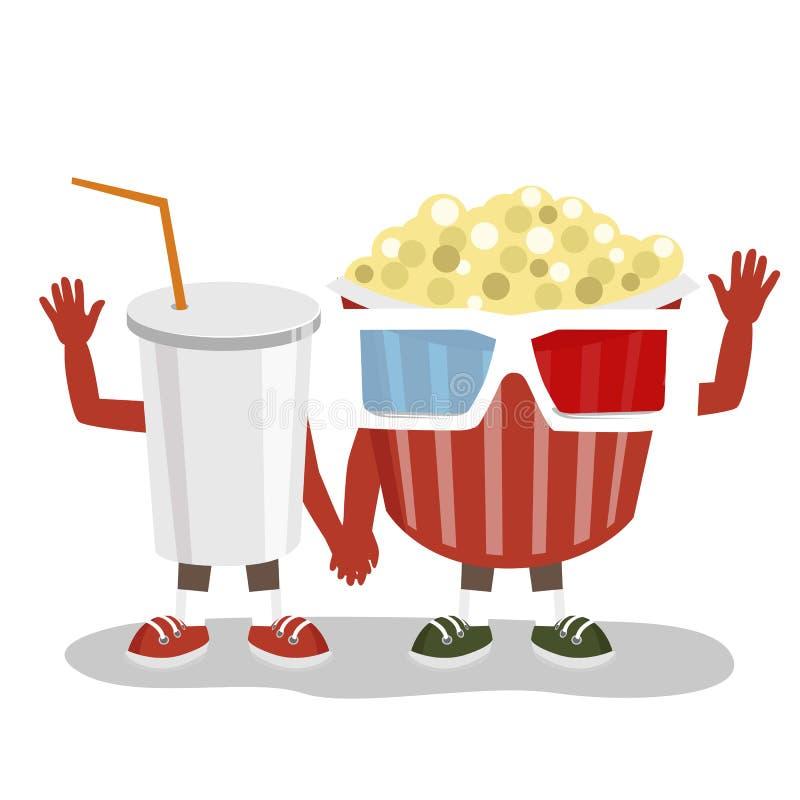 Cereale di schiocco del cinema con i vetri 3d e gli amici del carattere della cola che si tengono per mano insieme e che ondeggia royalty illustrazione gratis
