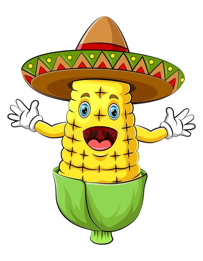 Cereale felice con il personaggio dei cartoni animati del sombrero royalty illustrazione gratis