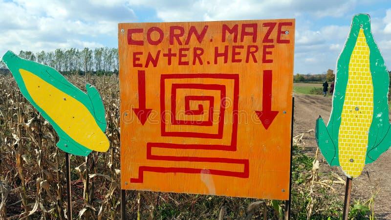 Cereale Maze Sign fotografia stock