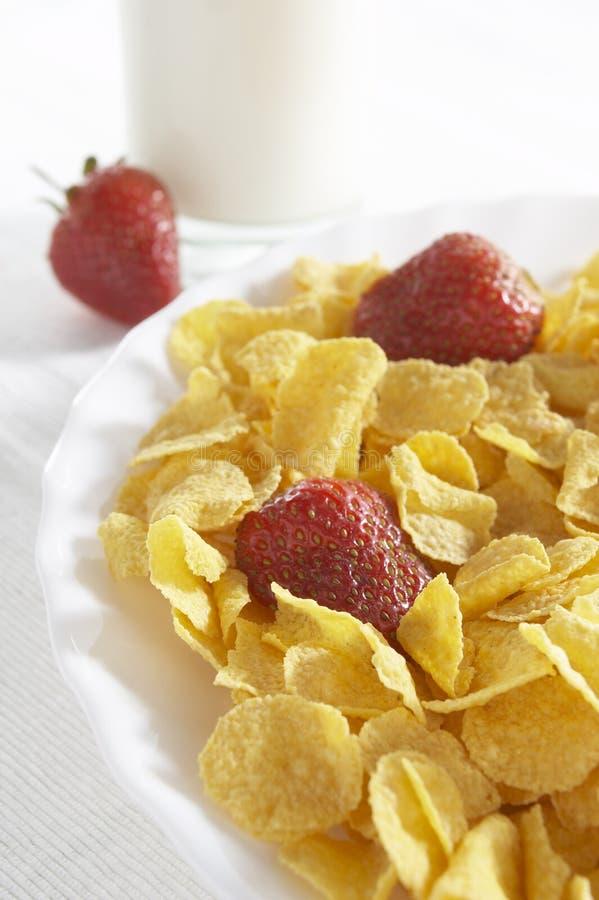 Cereales con leche y fresas fotos de archivo libres de regalías