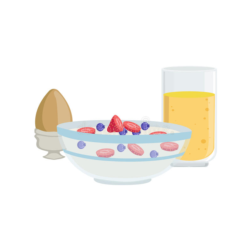 Cereales, huevo y naranja Juice Breakfast Food Drink Set libre illustration