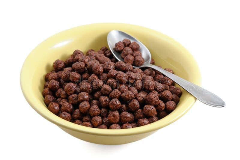 Cereali del cioccolato in ciotola fotografie stock