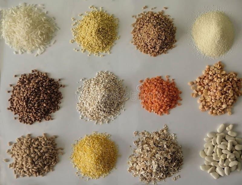 Cereali e grano su un fondo bianco fotografia stock